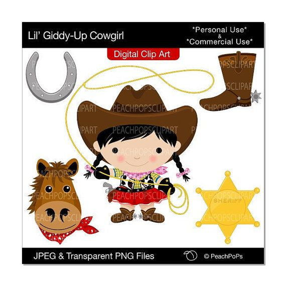 570x570 Cowgirl Clip Art Digital Clipart Wild West Horse Sheriff Girls
