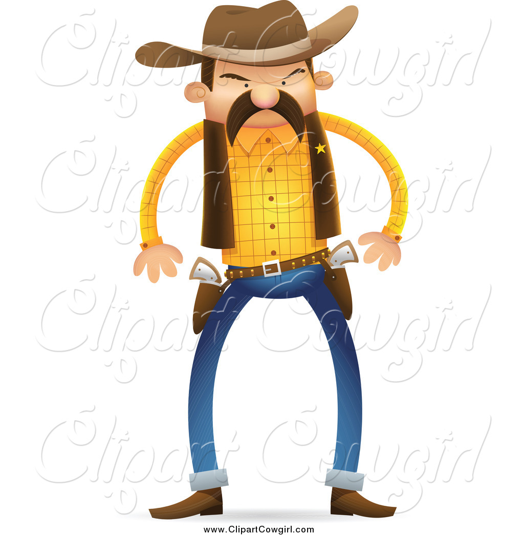 1024x1044 Clipart Of A Tough Wild West Sheriff Ready To Draw His Guns By