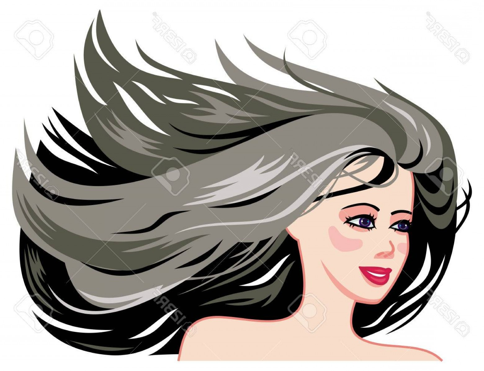 1560x1196 Photostock Vector Smiling Girl Face With Long Black Hair Blowing