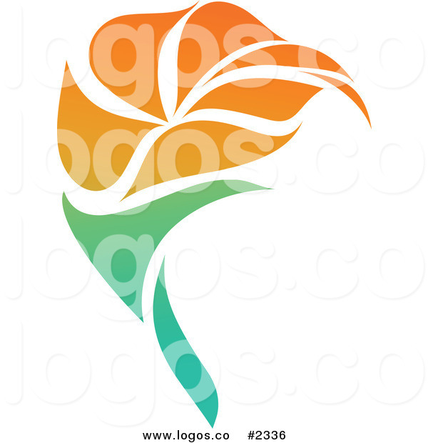 600x620 Royalty Free Orange Flower Blowing In The Wind Logo By Elena