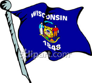 300x273 Wisconsin Flag Flying From Flag Pole Blowing In The Wind Royalty