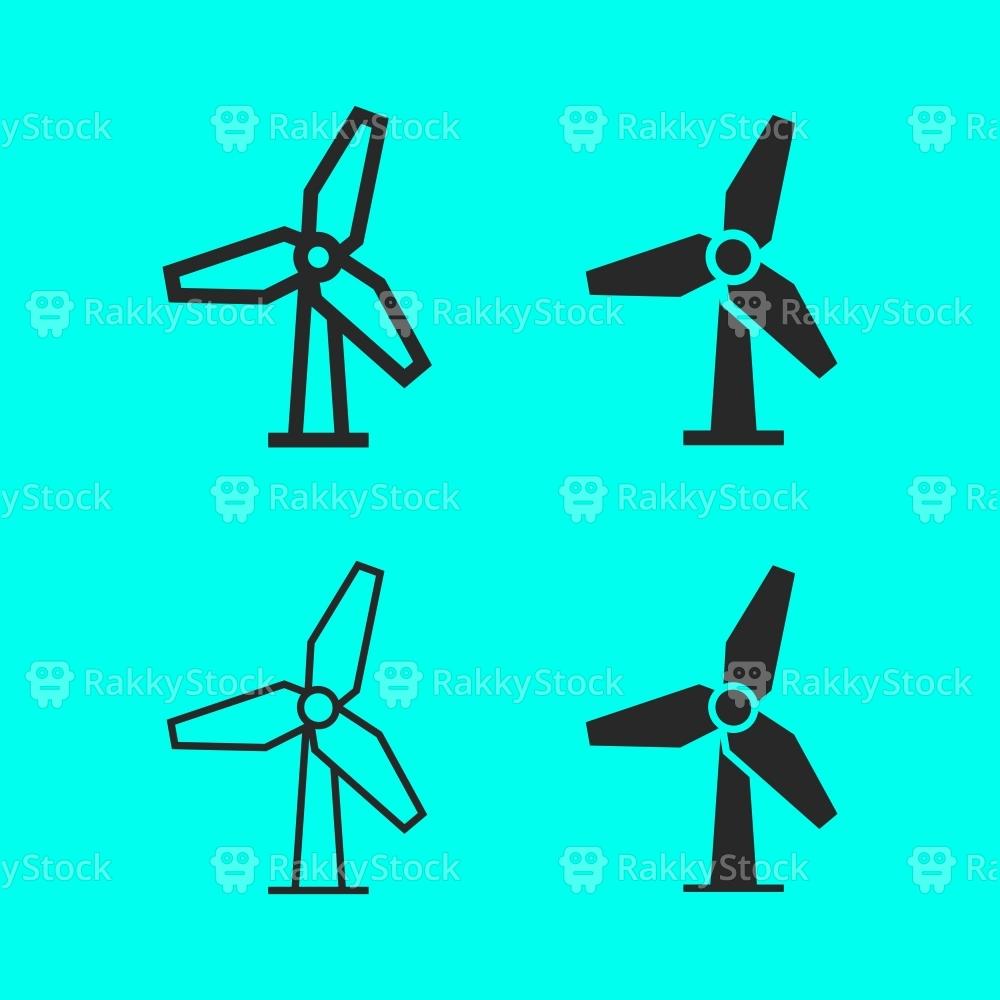 1000x1000 Wind Turbine Icon Vector Rakkystock