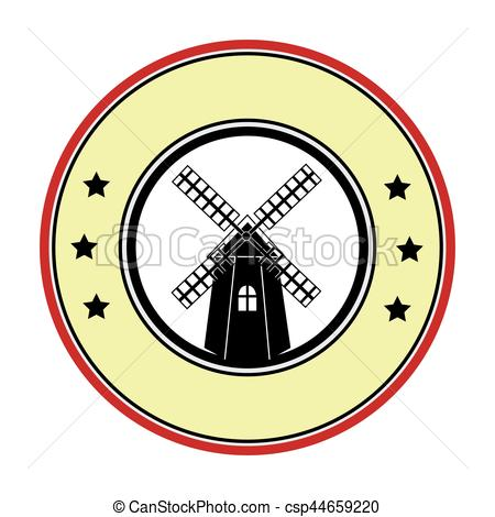 450x470 Colorful Circular Border With Windmill Vector Illustration Vector