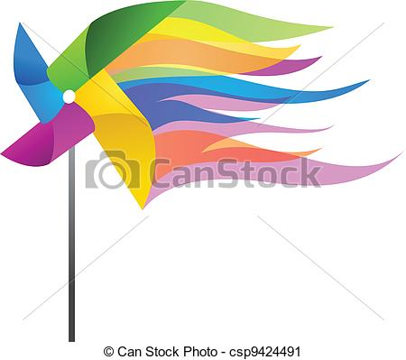 450x399 Colorful Windmill Toy, Vector Illustration Vector Clip Art