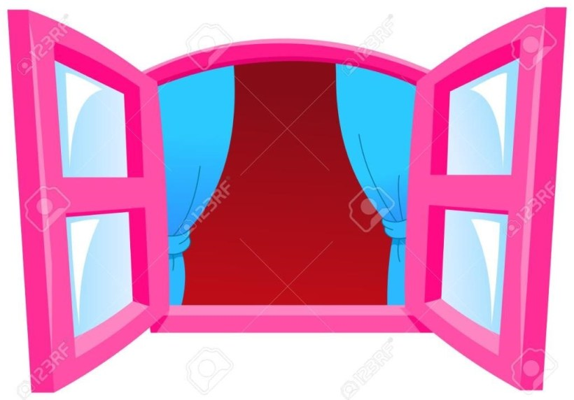 820x572 Open Window With Curtain Clipart