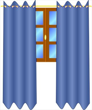293x350 Window Clipart Blue Curtain