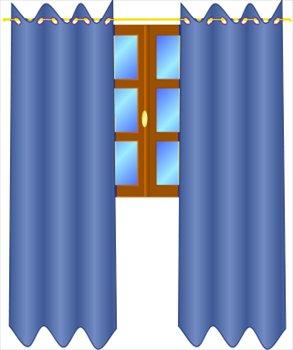 293x350 Window clipart blue curtain