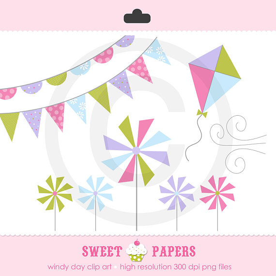570x570 Windy Day Clip Art Set Commercial Or Personal Use By Sweet