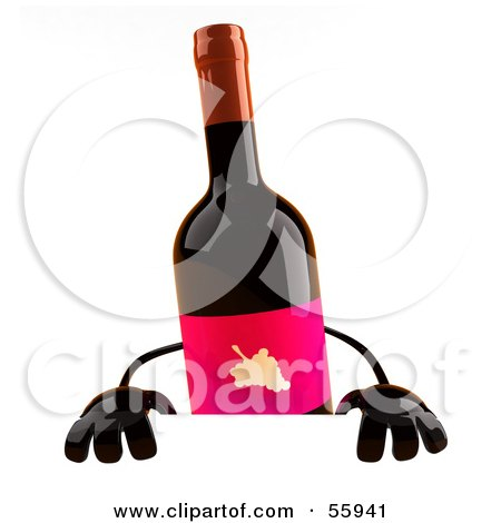 450x470 Clipart Of A 3d Wine Bottle Mascot Holding A Spanish Flag