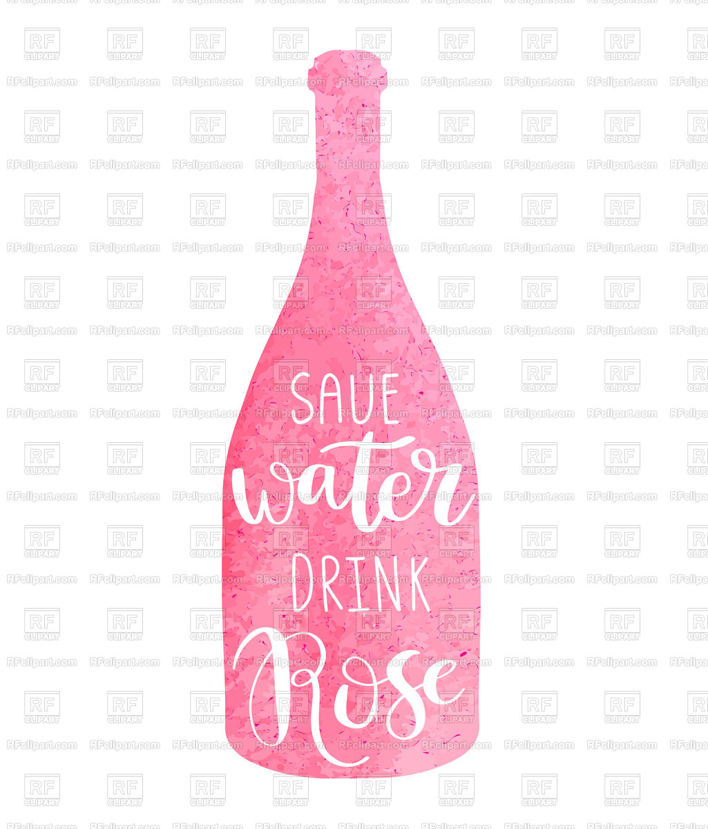 1025x1200 Hand Drawn Typography Poster With Pink Watercolor Wine Bottle