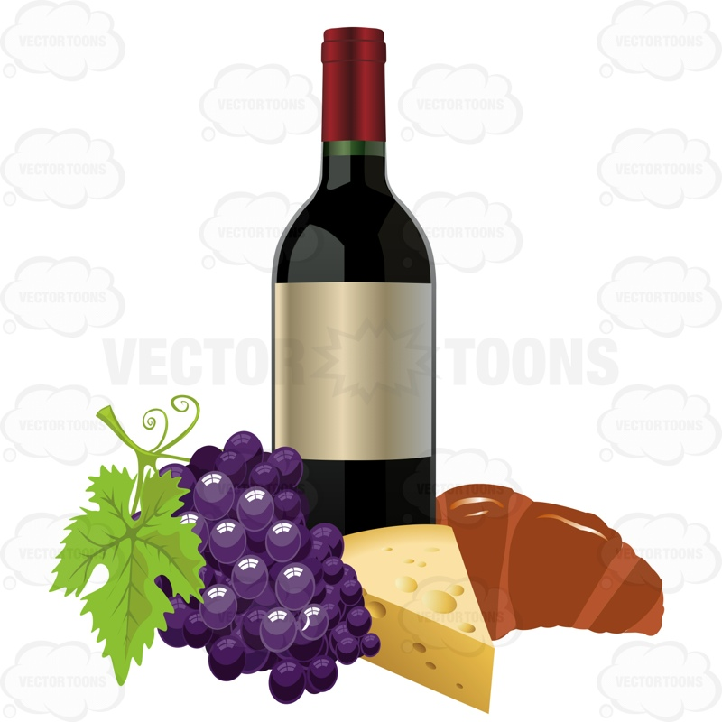 800x800 Wine Bottle With Grapes Cheese And A Croissant Cartoon Clipart