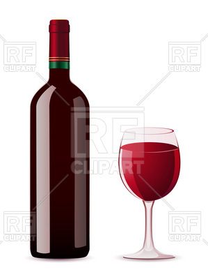 299x400 Bottle And Glass Of Red Wine Royalty Free Vector Clip Art Image