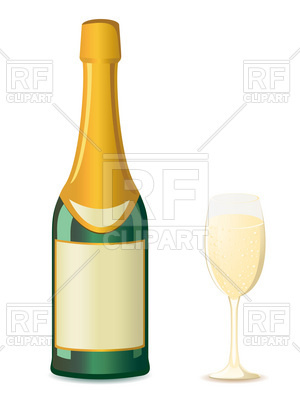 300x400 Bottle Of Champagne And Wineglass Royalty Free Vector Clip Art
