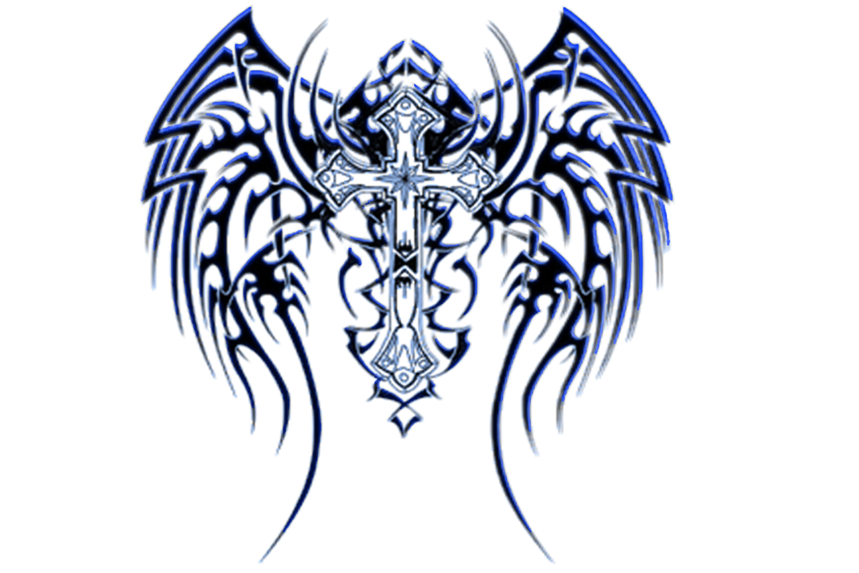 1710x1140 Cross With Tribal Wings Pictures Of Tribal Crosses Clipart