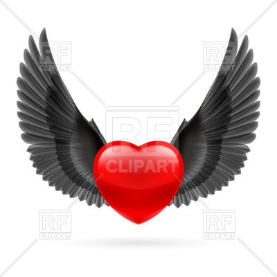 400x400 Red Heart With Raised Black Wings Royalty Free Vector Clip Art