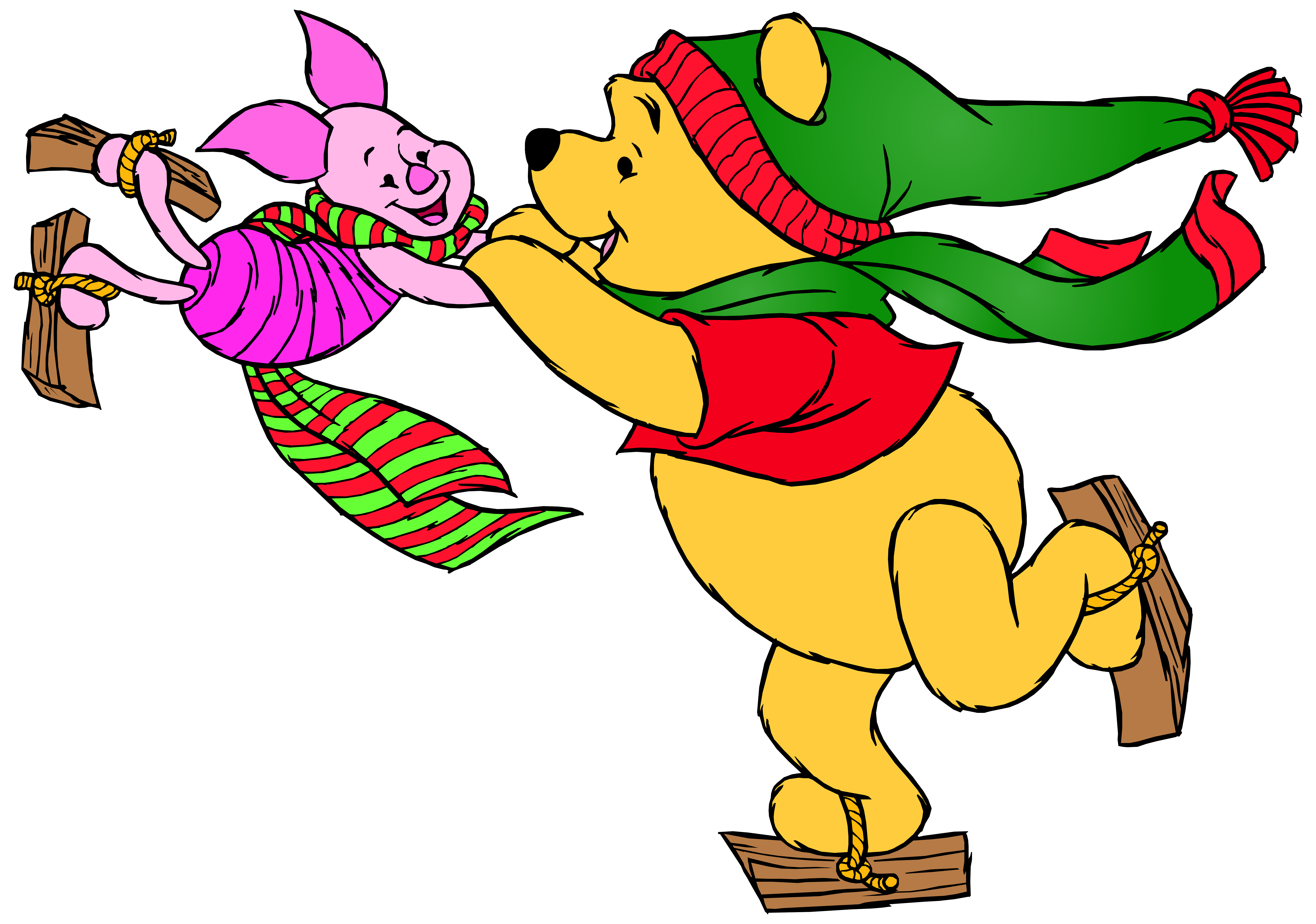 8000x5619 Winnie The Pooh And Piglet Skating Png Clip Art