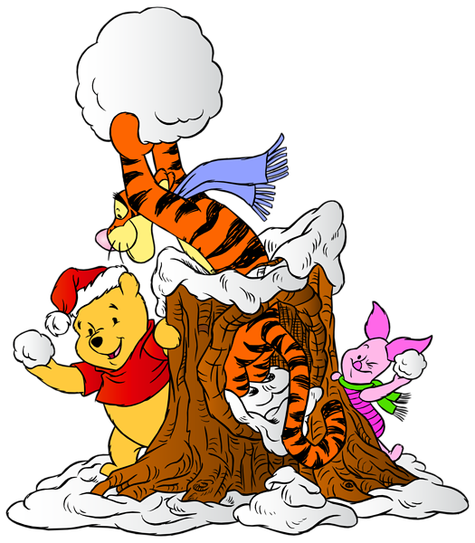 525x600 Winnie The Pooh And Friends With Snowballs Png Clip Art Image
