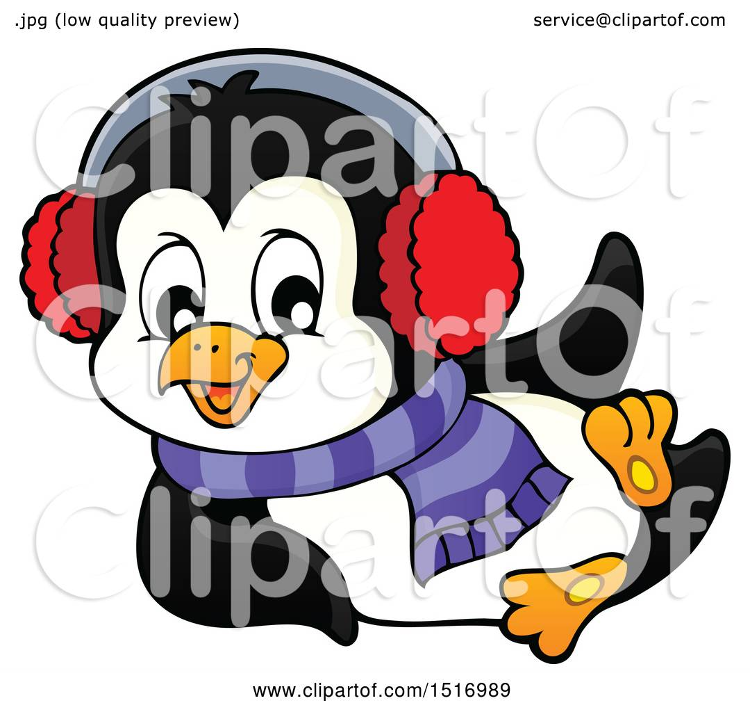 1080x1024 Clipart Of A Winter Penguin