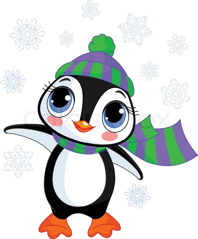 664x800 Illustration Of Cute Winter Penguin With Hat And Scarf Pointing