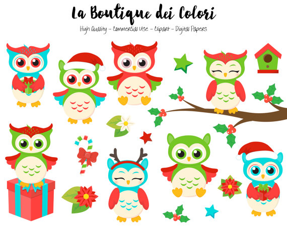 570x453 Christmas Owls Clipart, Cute Digital Graphics Png, Birds, Winter