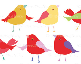 340x270 Cute Bird Clipart Set Tree Branch Clip Art Colorful Spring