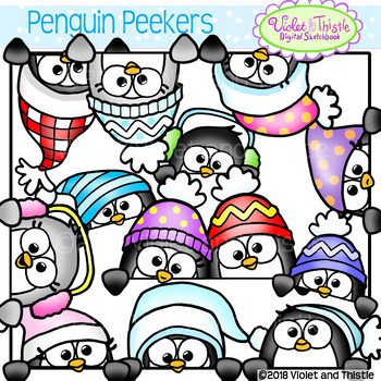 350x350 Cute Penguin Peekers Peeking Penguins Page Toppers Faces Winter