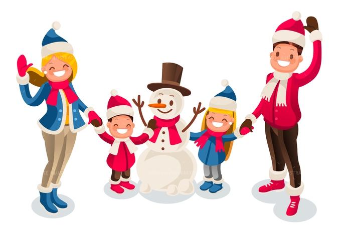 690x459 Winter Fun Isometric People Cartoon Family