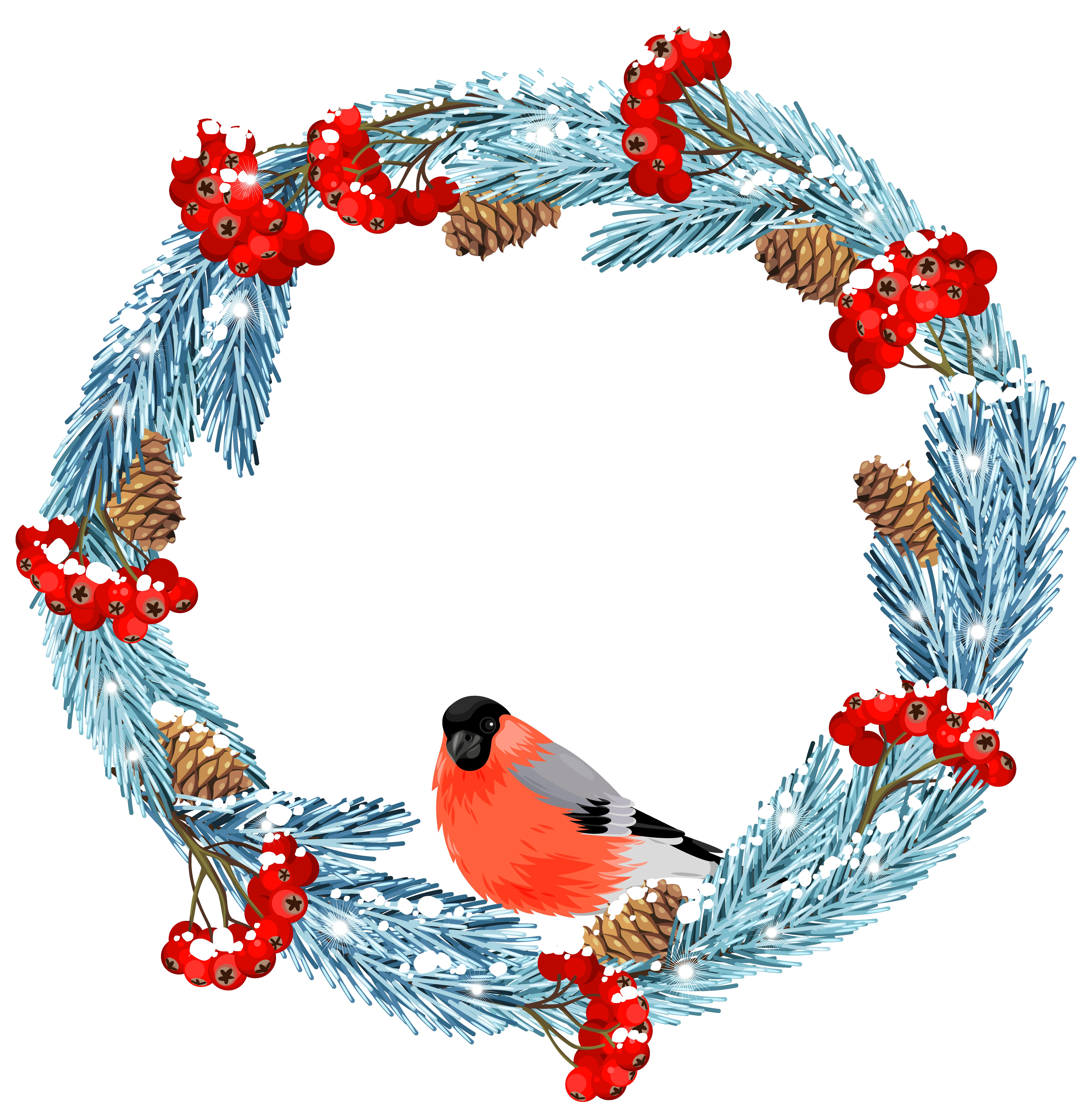 6295x6443 Blue Winter Wreath With Bird Png Clip Art Imageu200b Gallery