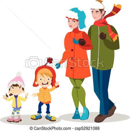 450x454 Cartoon Family In Winter Clothes. Vector Illustration Vector