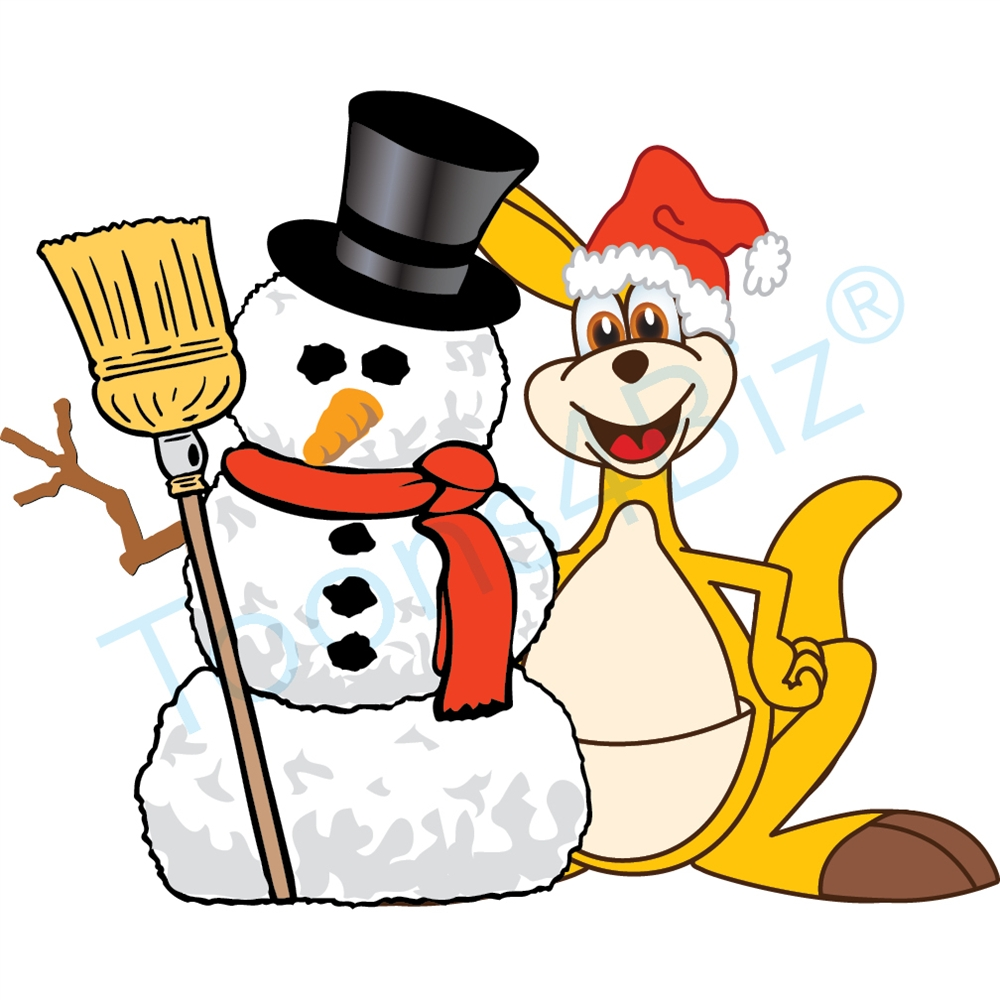 1000x1000 Kangaroo Mascot Clip Art With Snowman And Santa Hat Clip Art
