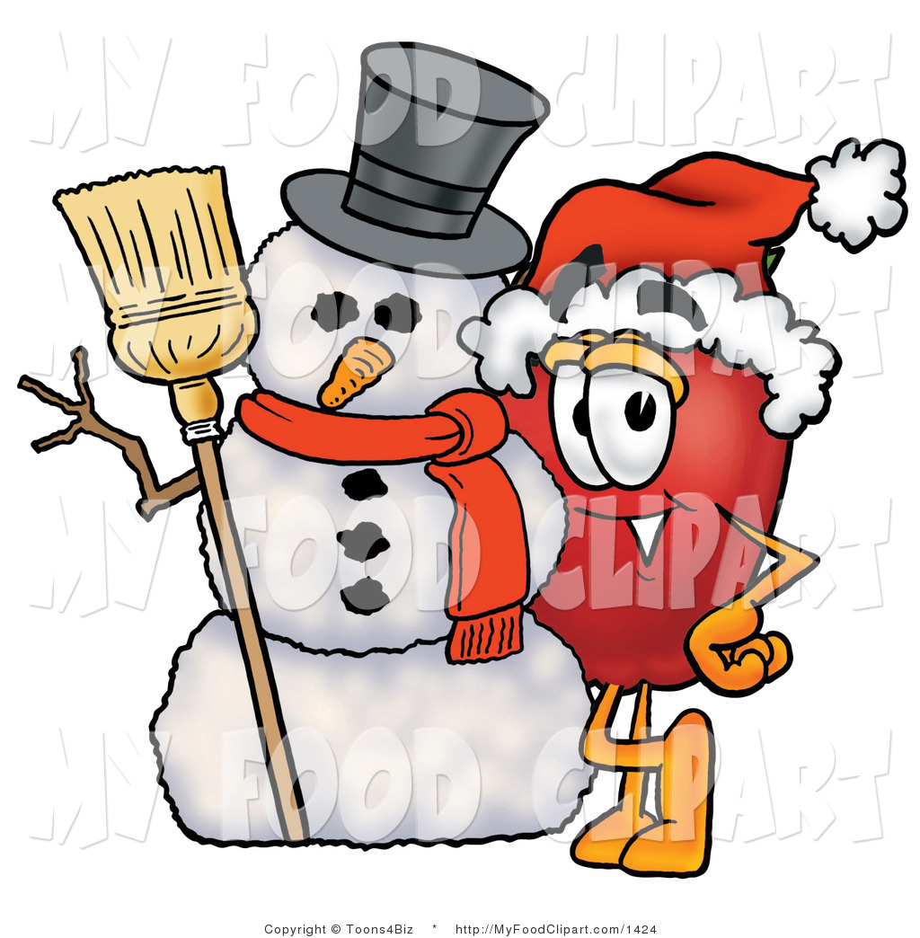1024x1044 Food Cliprt Of Festive Redpple Character Mascot Leaning On
