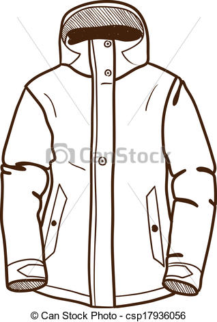 318x470 Winter Sport Jacket Isolated On White. Sketch Vector Clipart
