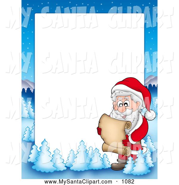 600x620 Christmas Clip Art Of A Frame Border Of Santa Reading A List