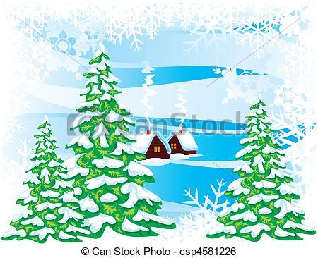 450x366 Fabulous Winter Landscape. Vector Image. Clip Art Vector