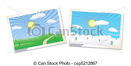 450x228 Winter And Summer Landscapes Illustration. Winter And Summer