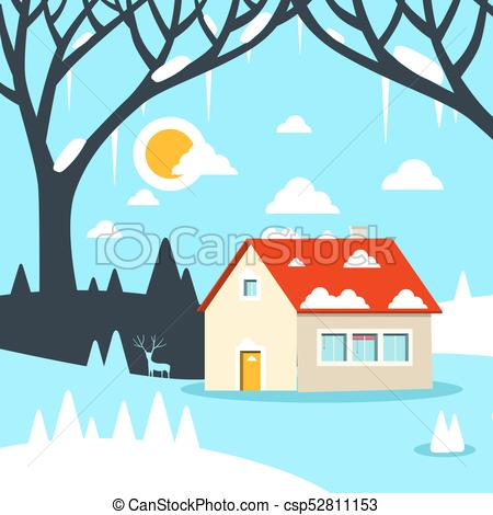 450x470 Winter Vector Flat Design Landscape With House On Field Clipart