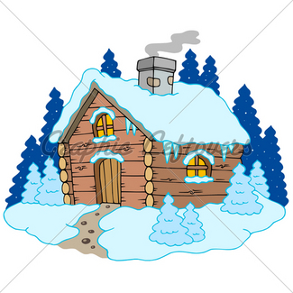 325x325 Cartoon Winter House. Vector Background Gl Stock Images