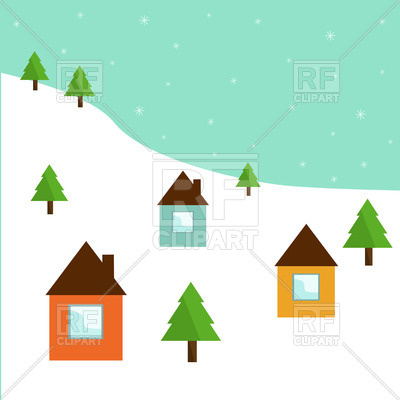 400x400 Cartoon Winter Landscape With Huts And Fir Treen Royalty Free