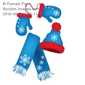 300x300 Clip Art Illustration Of Mittens, A Scarf And A Hat