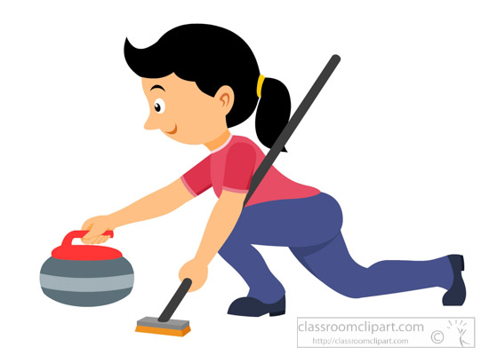 550x400 Winter Sports Clipart Clipart Curling Woman Throwing Stone Winter