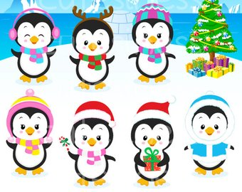 340x270 Penguins Clipart Set Clip Art Set Of Penguins Winter