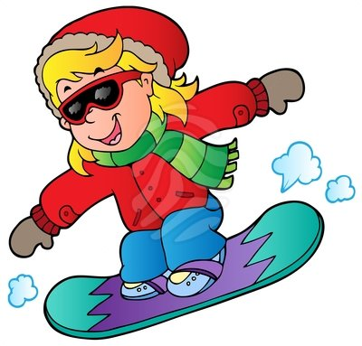 400x383 Girl Snowboard Clipart