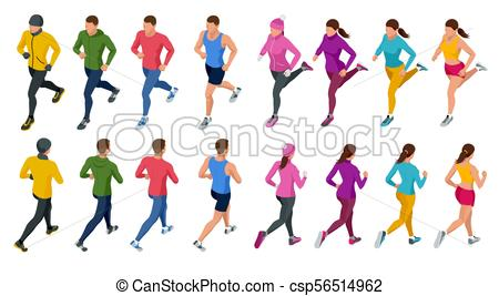 450x267 Isometric Running People. Front And Rear View. People Are Clip