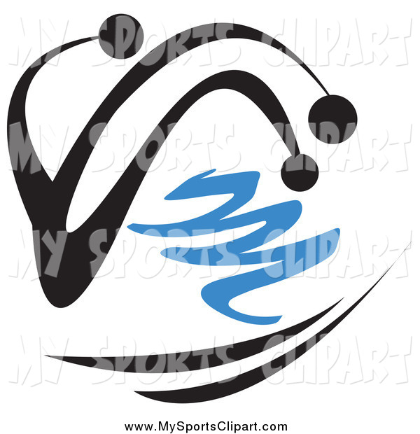 600x620 Sports Clip Art Of Abstract Black Person Skiing In The Winter By