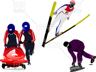 400x298 Winter Sports Silhouettes Bobsleighing, Ski Jumping, Curling