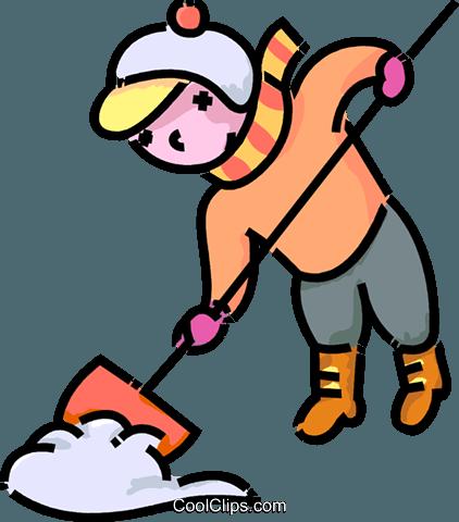 422x480 Girl Shoveling Snow Royalty Free Vector Clip Art Illustration