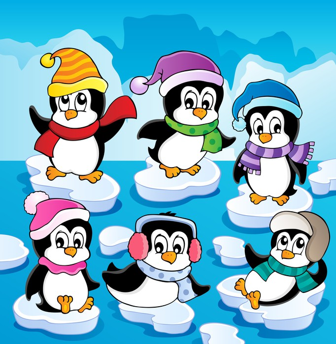 682x700 Winter Theme With Penguins 2 Wall Mural We Live To Change