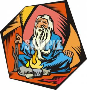 291x300 An Old, Wise Man Or Guru In A Cave Clipart Image