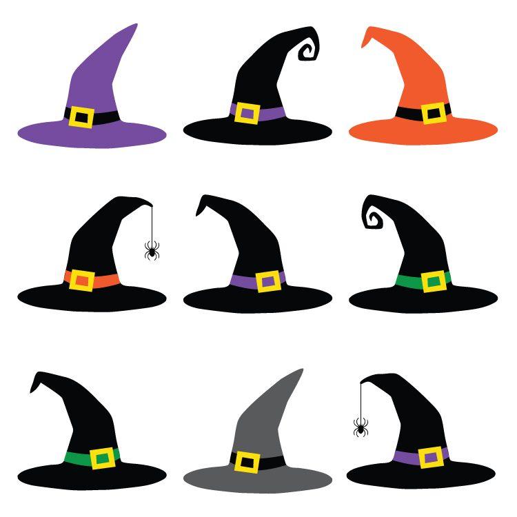 750x750 Witch Hat Cut Files + Clip Art