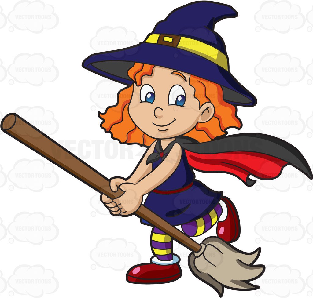 1024x976 A Girl Dressed As A Cute Witch Cartoon Clipart Vector Toons